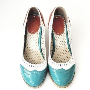 Shoes - Vintage Inspired Wingtip Oxford Heels